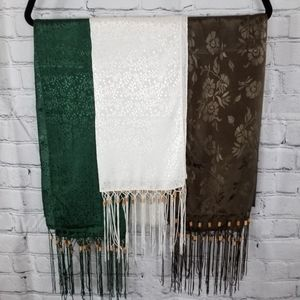 3 Scarf Combo /Green,White,Brown
